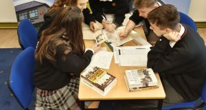 Students from Coláiste Phobal Ros Cré work on their project on the War of Independence.