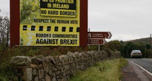 Border Communities against Brexit signage on the outskirts of Newry in Northern Ireland. Photograph: Nick Bradshaw.