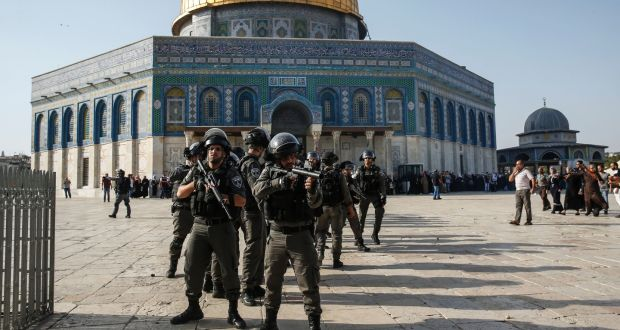 Israeli security forces in front of the Dome of the Rock in the Haram al-Sharif compound in the old city of Jerusalem: it has become normal in Israel to turn a blind eye to the occupation and the Palestinians themselves. Photograph: Ahmad Gharabli/AFP/Getty Images