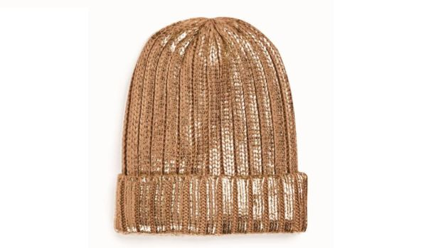 Gold ribbed beanie, Penneys, €4