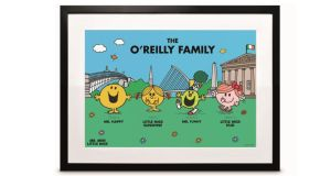 Mr Men framed family portrait, €30 unframed, €50 framed, Arnotts