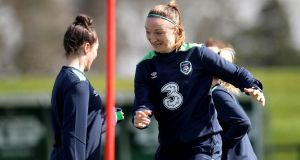 Republic of Ireland  defender Louise Quinn during training ahead of their clash with the Netherlands. Photograph: Ryan Byrne/Inpho