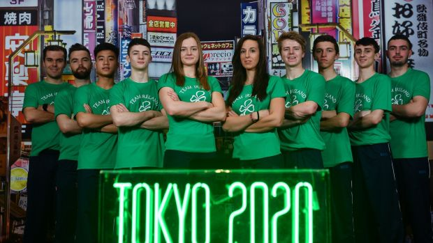 Athletes, from left, cyclist Mark Downey, hockey player Alan Sothern, badminton player Nhat Nguyen, gymnast Rhys McClenaghan, swimmer Mona McSharry, rower Denise Walsh, hockey player Kirk Shimnins, eventer Cathal Daniels, taekwondoin Jack Wooley and Clay target shooter Ian O'Sullivan. Photo: Ramsey Cardy/Sportsfile