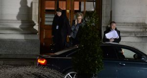 Tánaiste Frances Fitzgerald  leaves Government Buildings on Monday night. Photograph: Cyril Byrne/The Irish Times