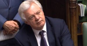 Brexit Secretary David Davis during Prime Minister's Questions in the House of Commons, London. Photograph: PA Wire