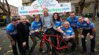 Ireland rugby head coach Joe Schmidt launched the 2017 National Saddle Up For Epilepsy cycle, which took place earlier this year – along with Rick O'Shea (second left) and Brenda Quigg (third  left).