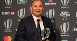 Coach of the Year Eddie Jones from at the World Rugby awards in Monaco. Photograph: Getty Images