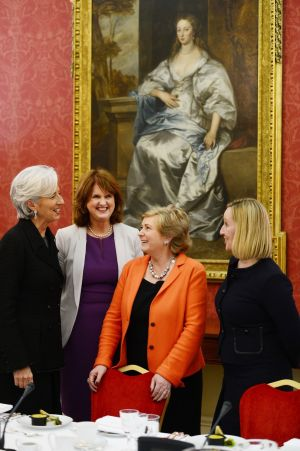8/03/2013: Christine Lagarde, CEO of the International Monetary Fund ; Joan Burton, Minister for Social Protection; Frances Fitzgerald, Minister for Children and Youth Affairs; and Lucinda Creighton, Minister for European Affairs, meeting at a lunch in Dublin.  Photograph: Alan Betson / THE IRISH TIMES