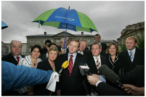 Fine Gael leader Enda Kenny announcing the Fine gael Seanad spokespersons for the upcoming Seanad session, including leader Frances Fitzgerald (centre left).  Photograph: Alan Betson