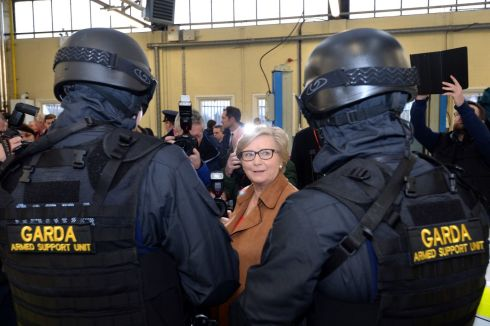 14/12/2016: Tánaiste and Minister for Justice Frances Fitzgerald inspects the new Garda Armed Support Unit for the Dublin region, at Garda HQ, Phoenix Park, Dublin. Photograph: Dara Mac Donaill / The Irish Times