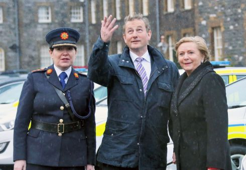 15/01/15: Taoiseach Enda Kenny, Minister for Justice and Equality Frances Fitzgerald and Garda Commissioner Nóirín O'Sullivan pictured at Garda Head Quarters, Phoenix Park, Photograph: Colin Keegan, Collins Dublin.