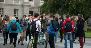 Students in Trinity College Dublin during the first week of term last year. File photograph: Dave Meehan/The Irish Times