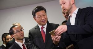 Chinese  president Xi Jinping during a visit to Huawei Technologies: Beijing's leadership is driving national policies to build globally competitive companies but there is   no such vision  among   European leaders. Photograph: Matthew Lloyd/Bloomberg/Getty