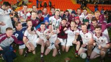 Slaughtneil players celebrate their Ulster club footall final victory over Cavan Gaels at the  Athletic Grounds in Armagh.  Photograph: Jonathan Porter/Inpho
