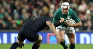 Ireland's Rory Best with Santiago Garcia Botta of Argentina: Best has appeared only twice for Ulster  this season  due to a hamstring injury. Photograph: Billy Stickland/Inpho