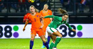 Netherlands' Desiree van Lunteren and Katie McCabe of Ireland compete for the ball during their 2019 World Cup qualifier. Photo: Rob Koppers/Inpho