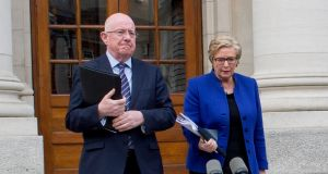 Minister for Justice Charlie Flanagan and his predecessor Frances Fitzgerald. Photograph: Brenda Fitzsimons/The Irish Times.