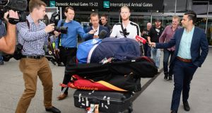 English cricketer Ben Stokes is surrounded by media as he arrives at Christchurch Airport on Wednesday. Stokes was arrested under suspicion of causing actual bodily harm in September. Videos have since emerged of the incident. Photograph: Kai Schwoerer/Getty Images