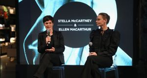 Stella McCartney (right) and Ellen MacArthur speak during the 'Creating A Future For Fashion' VIP launch on November 28th, 2017 in London. Photograph: Darren Gerrish/Getty Images