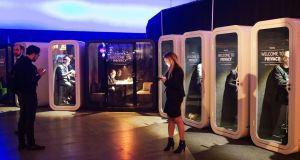 Attendees of  Slush  working  in privacy pods during the   event in Helsinki, Finland,  in 2016.  Photograph:  Getty Images