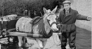 December 31st, 1959 : a farmer leads his donkey and cart through the flooding in Athlone. Photograph: Kevin McMahon