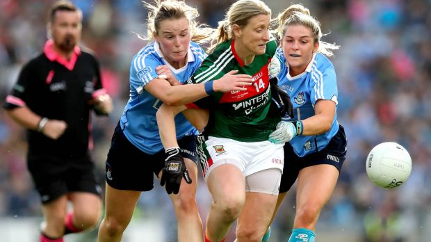 Cora Staunton in action during Mayo's defeat to Dublin in the Ladies Senior All-Ireland Football Championship Final at Croke Park. Photograph: Ryan Byrne/Inpho
