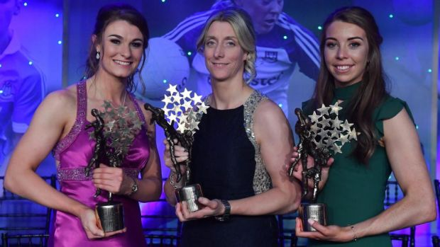 Cora Staunton (centre) collecting her 11th All-Star with Mayo team-mates Aileen Gilroy and Sarah Tierney. Photograph: Brendan Moran/Sportsfile