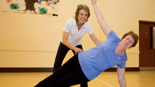 Physiotherapist Jean Taylor) and Ida Kelly at a clinical Pilates class in Greystones, Co Wicklow. Photograph: Tom Honan