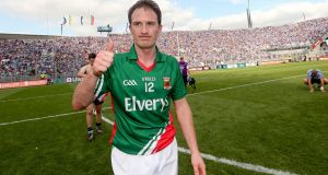 Alan Dillon celebrates Mayo's win over Dublin in 2012. He served the county with great distinction over a long career.  Photograph: James Crombie/Inpho