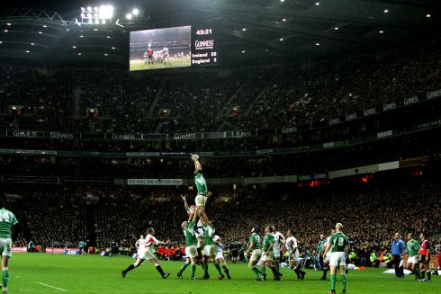 England in Croke Park: Paul O'Connell wins the line out for Ireland as Ireland beat England at Croke Park in February 2007. Photograph: Cyril Byrne/The Irish Times