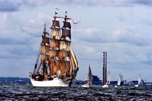 Tall ships: The ship Danmark sails away from Dublin, at the end of the tall ships festival in Dublin in 2012. Photograph: Cyril Byrne/The Irish Times