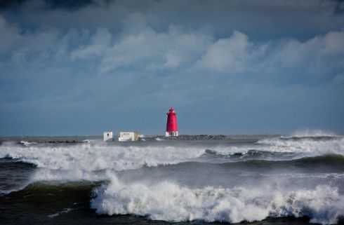 Poolbeg: High tide at the Poolbeg Lighthouse in Dublin as Storm Brian hits. Photograph: Tom Honan