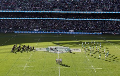 All Blacks: Ireland line up against the All Blacks in a shape of eight in memory of Anthony Foley of Munster in 2016. Photograph: INPHO/Billy Stickland