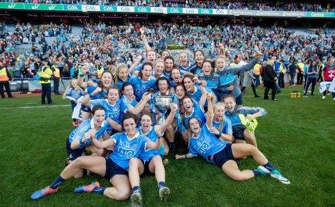 Dublin ladies: The Dublin Ladies Football team celebrate their convincing victory over Mayo in the 2017 Ladies All Ireland Football Final. Photograph: INPHO/Morgan Treacy