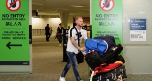 English cricketer Ben Stokes arrives at Christchurch Airport in New Zealand. Photo: Kai Schwoerer/Getty Images