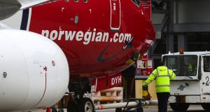 Norwegian Air has begun hiring pilots to work at a permanent base that it intends establishing at Dublin Airport. Photograph: Bloomberg