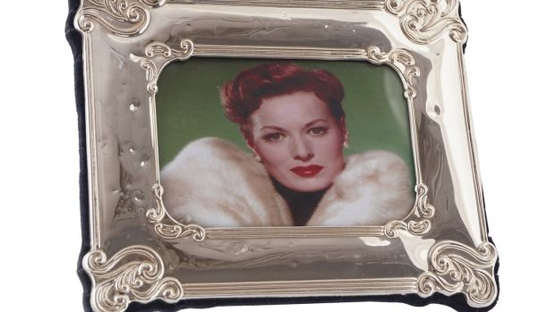 Framed photograph of Maureen O'Hara wearing her Dior white mink made €380