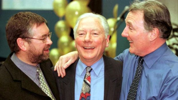 RTÉ radio: Joe Duffy with his fellow presenters Gay Byrne and Mike Murphy in 1998. Photograph: Colin Keegan/Collins