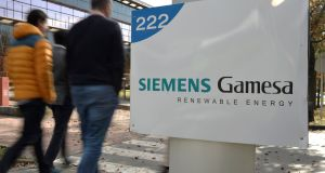 The Siemens Gamesa logo is displayed outside the company headquarters in Zumudio, near Bilbao, Spain, November 28, 2017. REUTERS/Vincent West