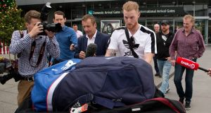 New Zealand-born England cricket player Ben Stokes arrives in Christchurch. Photograph: PA