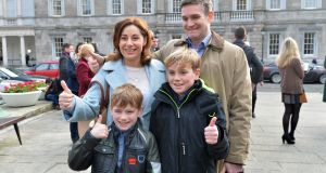 Josepha Madigan with her husband Finbar Hayes and sons Luke and Daniel ahead of the first meeting of the 32nd Dáil at Leinster House. Photograph: Alan Betson / The Irish Times