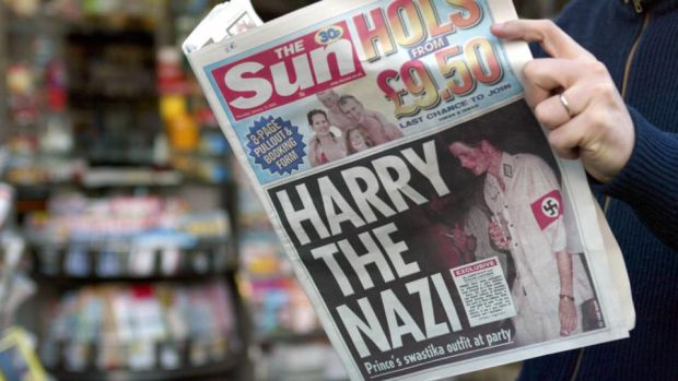Harry the Nazi: Prince Harry wore a swastika outfit to a fancy-dress party when he was 20. Photograph: Gabriel Bouys/AFP/Getty