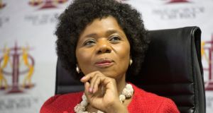 South Africa's former public protector, Thuli Madonsela, who published a 355-page report on the allegedly nefarious activities of the Gupta family and their influence on Zuma's shadow state. Photograph:  EPA/STR