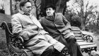 Richard Bruton (left) and Michael Hordern  at Dublin Zoo in 1965 during the filming of 'The Spy Who Came in from the Cold'. Photograph: Eddie Kelly/ The Irish Times