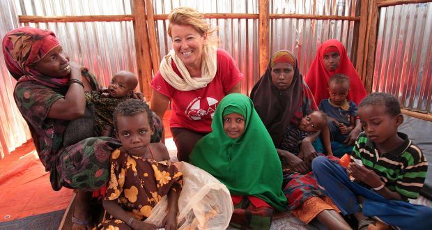 Image result for woman in refugee camp aid worker