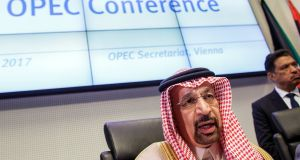 Khalid Al-Falih, Saudi Arabia's energy and industry minister, speaks to the media at the 173rd Opec meeting in Vienna Photograph: EPA