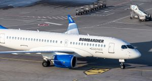 A Bombardier CSeries  prototype: Trade unions have warned that  proposed tariffs on the new  aircraft in the US threaten the future of 4,000 jobs at Bombardier's plant in Northern Ireland. Photograph: Getty