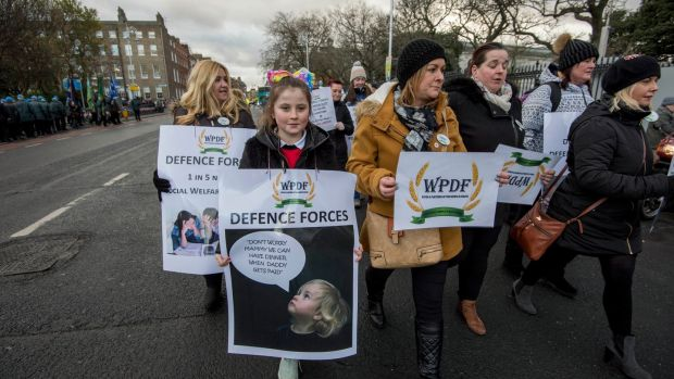 Wives and Partners of the Defence Forces march to the Dáil in protest against low pay levels of military personnel. File photograph: Brenda Fitzsimons/The Irish Times