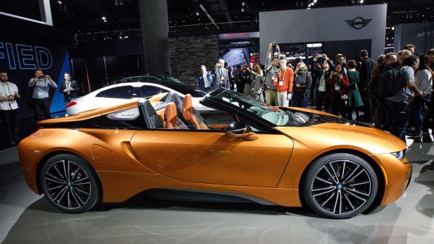 The new BMW i8 plug-in hybrid roadster, unveiled during at the LA Auto Show.
