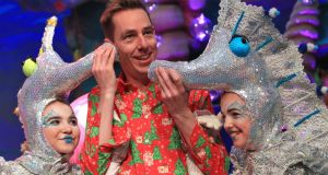 Ryan Tubridy pictured with Seahorses, Jade Ellis and Ebony Darcy (12 and 13) from Carlow at a preview of the 'Late Late Toy Show', expected to be the most-watched programme of the year.